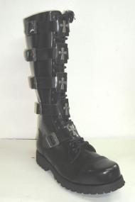 20 eye w/5 more cross buckle boot black leather