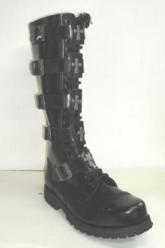 - 20 eye w/5 more cross buckle boot black leather