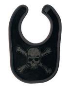 Distressed Skull Black With Black Print Bib