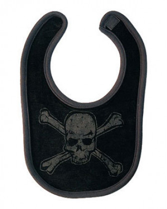 - Distressed Skull Black With Black Print Bib