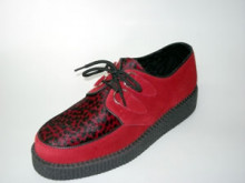 Steelground  Single lace creeper shoe red suede/ red leopard