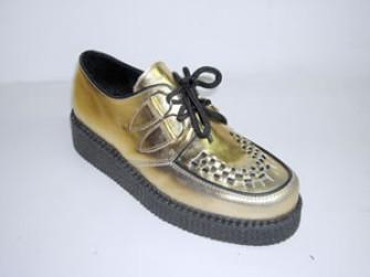 - Steelground Single lace creeper shoe metalic gold