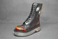 Flame skull punk boot black grain flame rub off