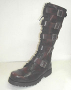 20 eye w/5 buckle boot burgundy rub off
