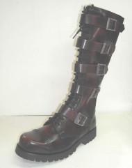20 eye w/5 buckle boot burgundy rub off