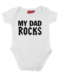 White My Dad Rocks Baby Grow