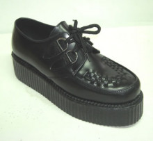 Double d-ring creeper shoe black leather