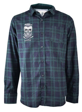 - Bearded Skull Blue and Green Checked Flannel Shirt