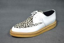 Pointed creeper shoe plain apron white box /leopard leather