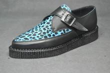 Pointed Creeper monk shoe, Plain apron - Black grain leather/Blue leopard hair