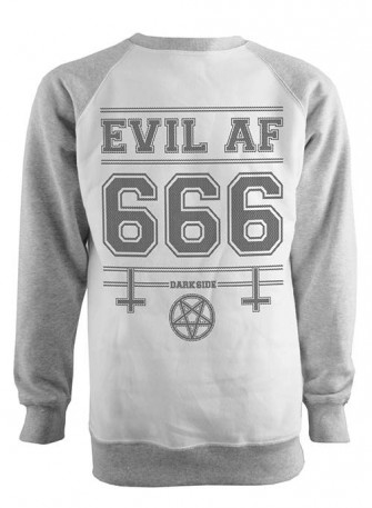 - Evil As F k Grey Raglan Sweatshirt