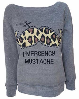 - Emergency Moustache Womens Grey Sweatshirt