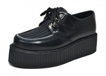 Lace creeper shoe with zip black letaher