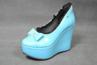 Sky blue blk lacy shoe with blue bow