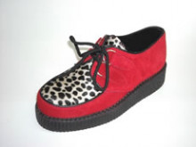 Steelground  Creeper single red suede/leopard d-ring shoe