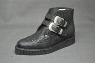 Western ankle boot black snake leather