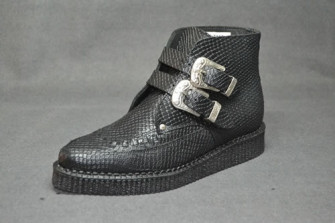 - Western ankle boot black snake leather